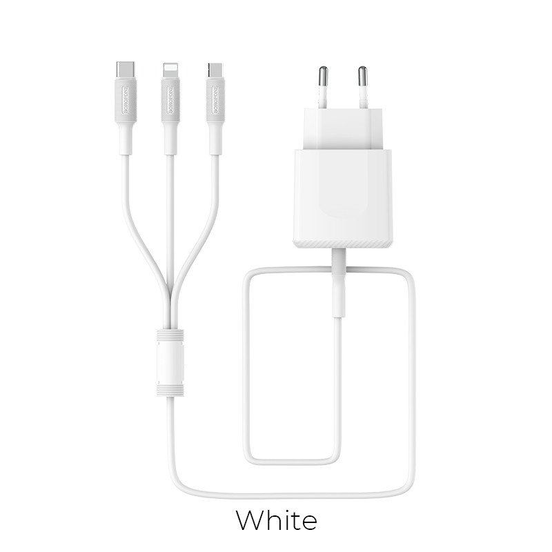 3 in 1 (USB-C / Lightning / Micro USB) laaddset 3A