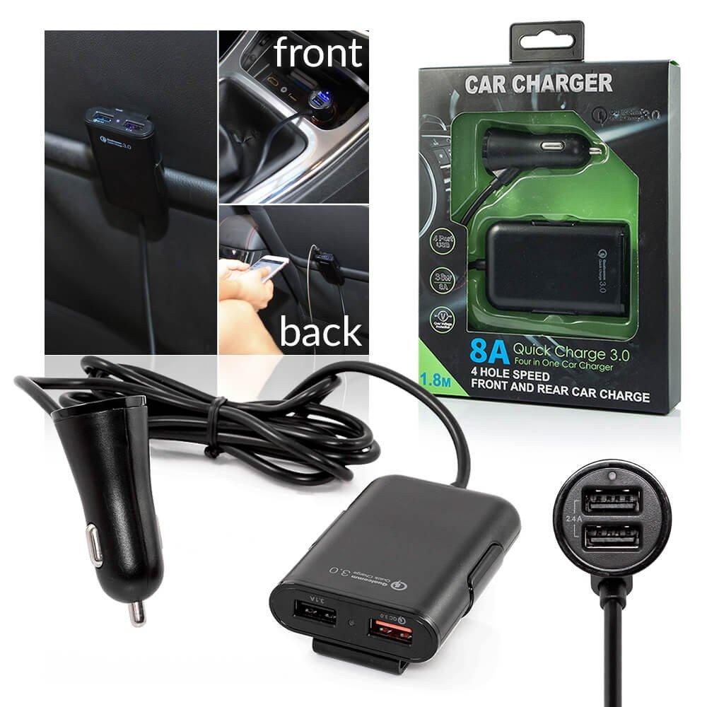 Autolader met verlengstuk voor achterbank - 4x USB met Fast Charging