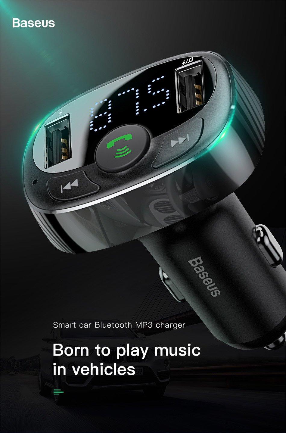 Baseus Bluetooth carkit met FM transmitter en 2x USB lader