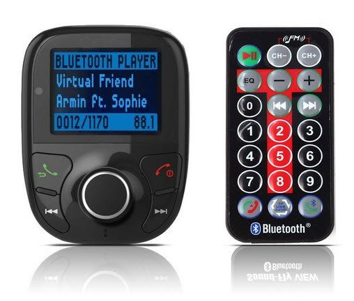 Bluetooth handsfree carkit met FM transmitter