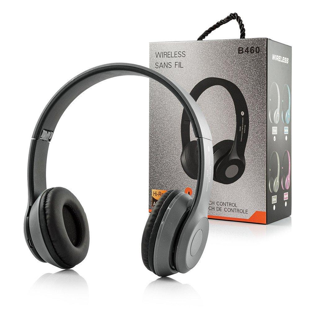 Draadloze bluetooth koptelefoon met FM radio - grijs