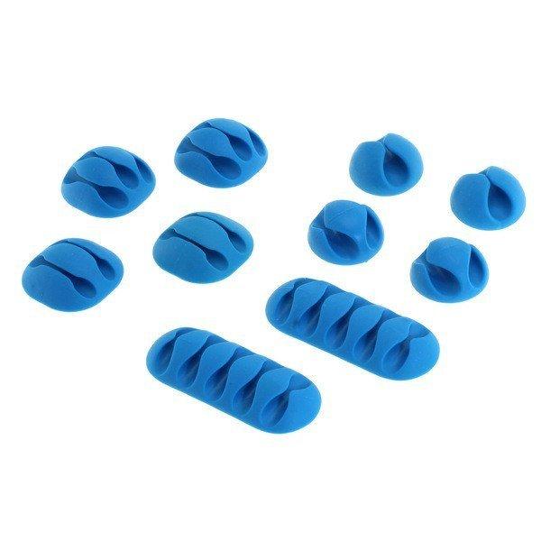 Kabelclips - kabelmanagement set van 10 stuks - blauw