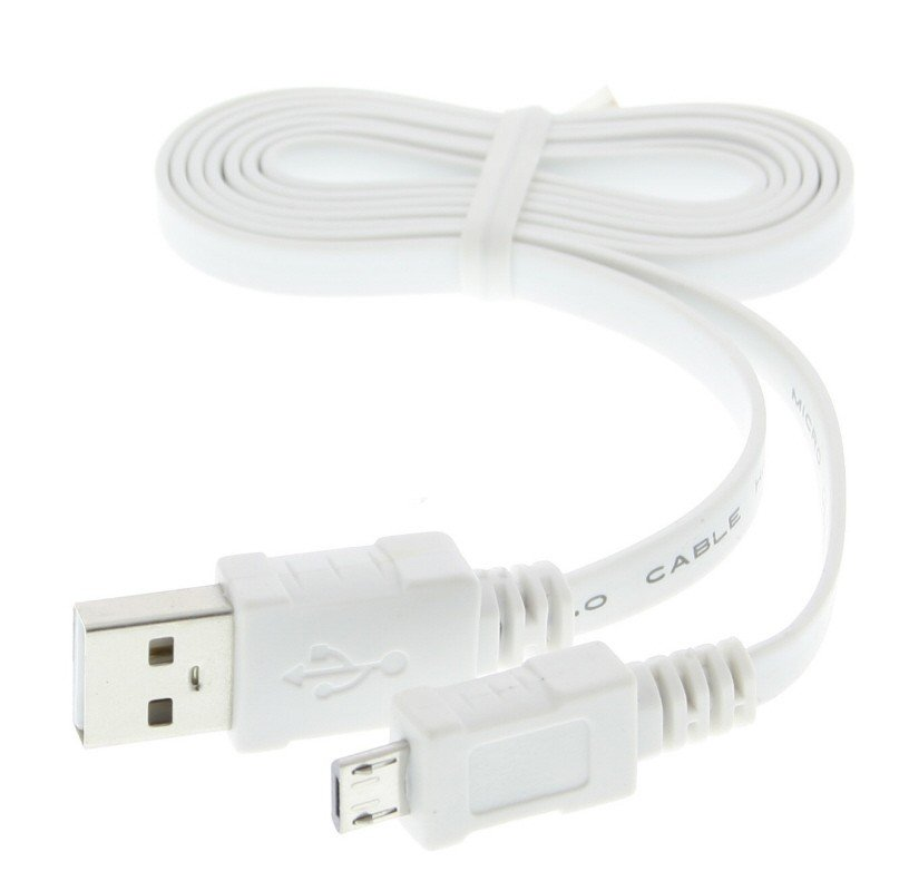 Micro USB datakabel met platte kabel universeel wit 0,95m