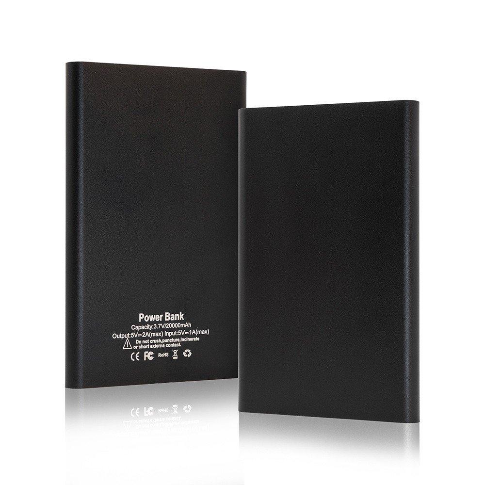 Mini powerbank batterij zwart - 1x USB - 20000 mAh