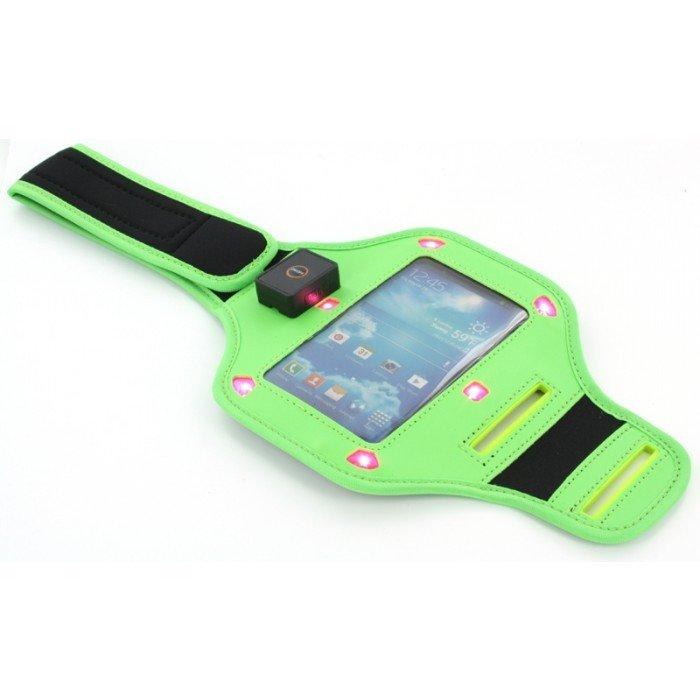 Sport armband met LED verlichting universeel groen