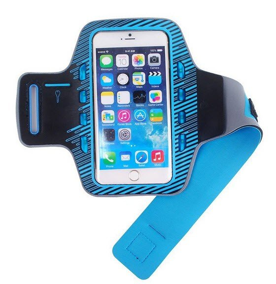 Sport armband met LED verlichting universeel - XXL - blauw