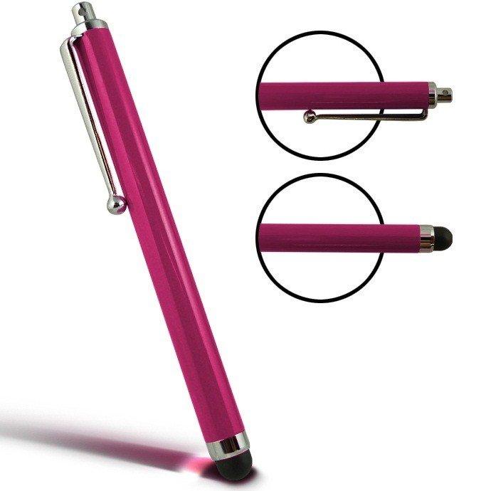 Stylus Pen capacitive roze met clip