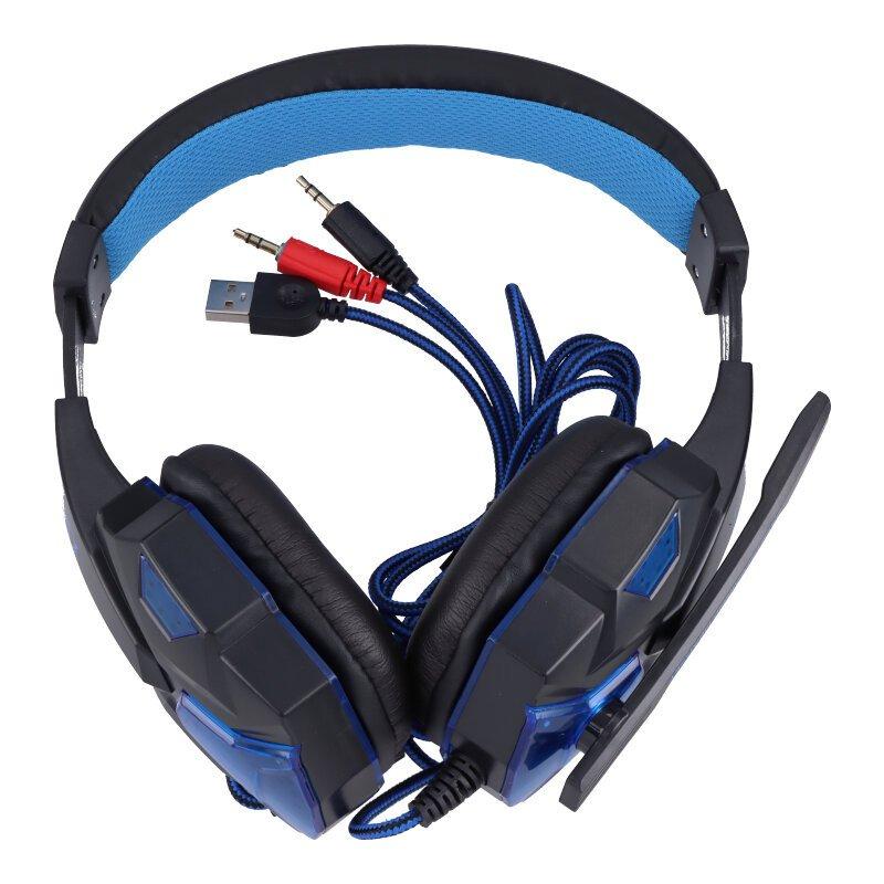SY830MV Gaming headset zwart/blauw met microfoon en LED