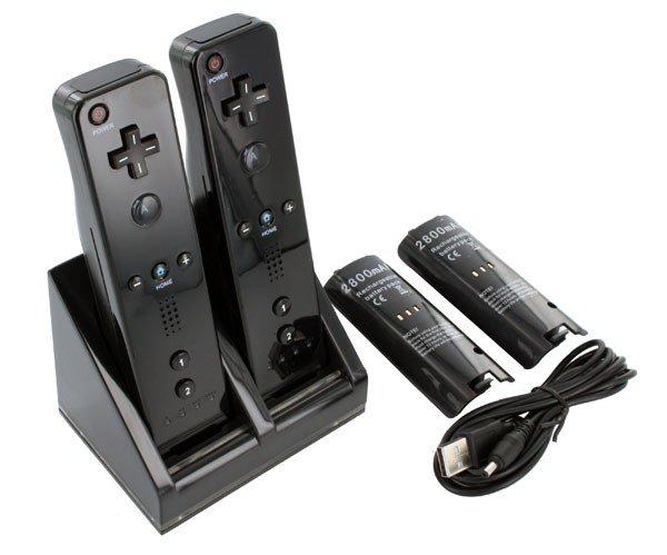 Wii Laadstation voor 2 controllers + 2x accu 2800 mAh zwart