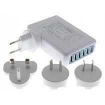 6 poorts USB reis lader set 6A - 30W universeel