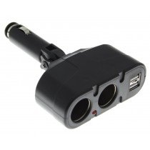 Autolader splitter / verloop + 2x USB zwart