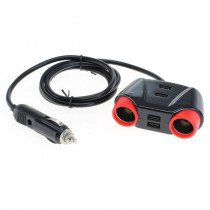 Autolader splitter / verloop + 4x USB en 1,2m kabel