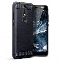 Carbon TPU hoesje Nokia 5.1 zwart
