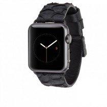 Case-Mate Apple Watch 38mm horloge bandje leer zwart - Zijkant