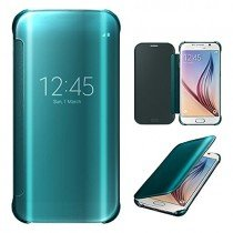 Clear View cover Samsung Galaxy S6 Edge blauw