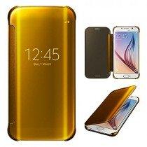 Clear View cover Samsung Galaxy S6 Edge goud