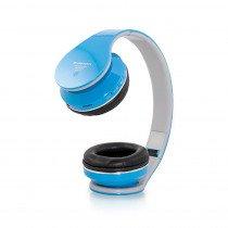 Draadloze bluetooth koptelefoon licht blauw