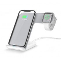 Draadloze laad dock voor iPhone en Apple Watch (2 in 1) wit
