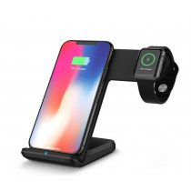 Draadloze laad dock voor iPhone en Apple Watch (2 in 1) zwart