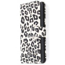 Wallet case luipaard Apple iPhone 5C wit