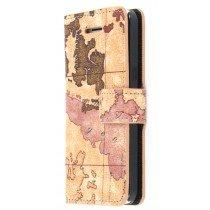 Wallet case new map Apple iPhone 5C bruin