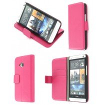 Flip case met stand HTC One roze