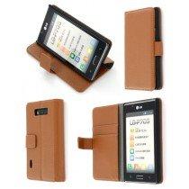 Flip case met stand LG Optimus L7 P700 bruin