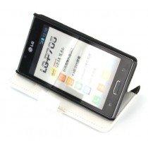 Flip case met stand LG Optimus L7 P700 wit