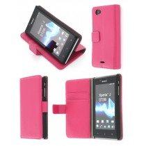 Flip case met stand Sony Xperia J roze