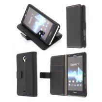 Flip case met stand Sony Xperia T zwart