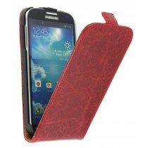 Flip hoesje leer Samsung Galaxy S4 i9505 rood