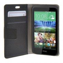 Hoesje HTC Desire 320 flip wallet zwart - Open
