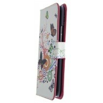 Hoesje HTC One M9 flip wallet butterfly colors