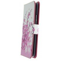 Hoesje HTC One M9 flip wallet flowers pink