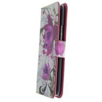 Hoesje HTC One M9 flip wallet flowers purple