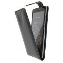 Open - Hoesje Huawei P8 flip case zwart