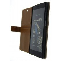 Open - Hoesje Huawei P8 flip wallet bruin