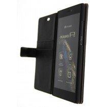 Open - Hoesje Huawei P8 flip wallet zwart