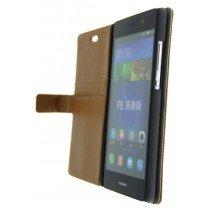 Open - Hoesje Huawei P8 Lite flip wallet bruin