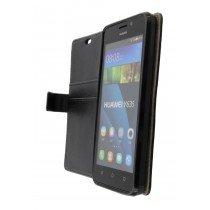 Hoesje Huawei Y635 flip wallet zwart - Open