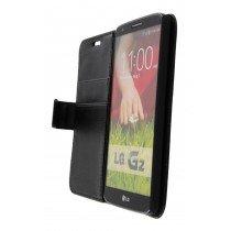 Hoesje LG G2 flip wallet zwart - Open