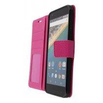 Hoesje LG Nexus 5X flip wallet roze - Open