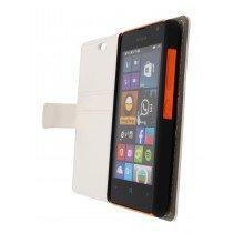 Hoesje Microsoft Lumia 430 flip wallet wit - Open