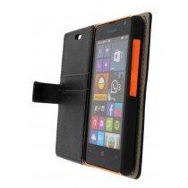 Hoesje Microsoft Lumia 430 flip wallet zwart - Open