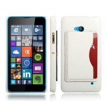 Hoesje Microsoft Lumia 640 hard cover leer wit