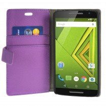 Hoesje Motorola Moto X Play flip wallet paars