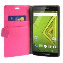 Hoesje Motorola Moto X Play flip wallet roze