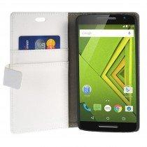 Hoesje Motorola Moto X Play flip wallet wit