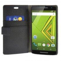 Hoesje Motorola Moto X Play flip wallet zwart