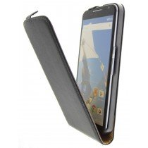 Open - Hoesje Motorola Nexus 6 flip case dual color zwart